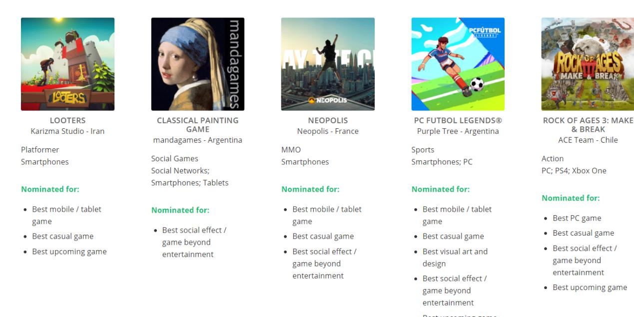 Kỷ niệm chương với các sản phẩm được xét giải Game Connection Development Awards
